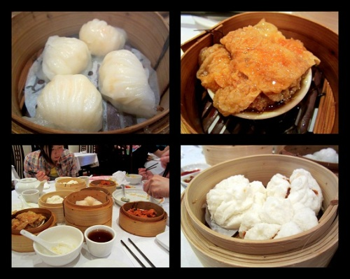 Clockwise from Top-left: Prawn Dumplings; Seafood-Stuffed Braised Bean Curd Rolls; BBQ Pork Buns; Our Lunch Table