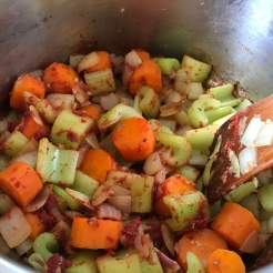 Stir through for a minute. Mix in dried herbs.